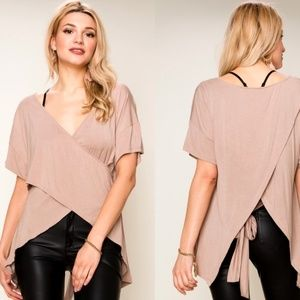 SOFT! NUDE/TAUPE HI LOW WRAP TOP